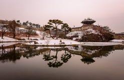 Reflexion av Suwon Hwaseong fortres i Suwon Royaltyfri Fotografi