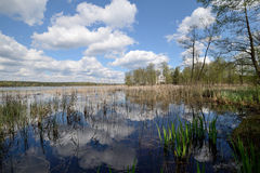 Reflexion of clouds in the spring lake Royalty Free Stock Photos