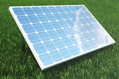 Reflexion der Illustration 3D der Wolken auf den Solarzellen Energie und Strom Alternative Energie, eco oder Stockfotografie