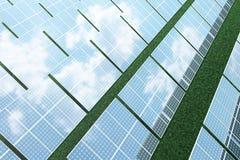 Reflexion der Illustration 3D der Wolken auf den Solarzellen Energie und Strom Alternative Energie, eco oder Stockbild