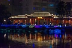 Reflexion der See-Ruzi Pavillon-Parknacht Stockbild