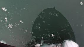 Reflexion des Schiffs in der Wasseroberfläche von Nordpolarmeer in Svalbard stock video