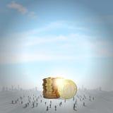 reflexion för pengar för begreppsgodshus verklig Arkivfoto