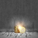 reflexion för pengar för begreppsgodshus verklig Arkivbild