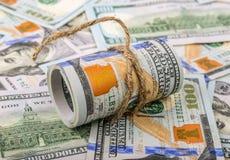 reflexion för pengar för begreppsgodshus verklig Rulle av dollar Royaltyfri Foto