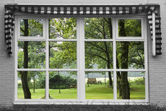 Reflexion of a garden. On the window Royalty Free Stock Images