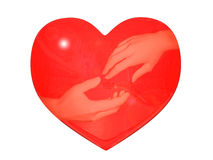 Reflexion of hands in heart Stock Photography