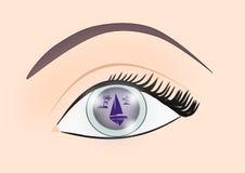 Reflexion i ögat stock illustrationer