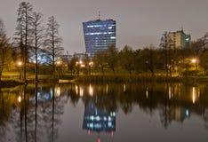 Reflexion i natt Arkivbilder