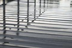 Reflexion im Wasser auf hölzernem Fußgängerbodenbelag am regnerischen Tag lizenzfreie stockfotografie