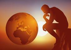 Reflexion på framtiden av jorden och mänskligheten stock illustrationer
