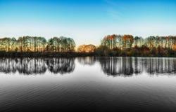 Reflexion Pittoresk reflexion av träd i floden Royaltyfri Foto