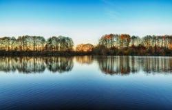 Reflexion Pittoresk reflexion av träd i floden Arkivfoton