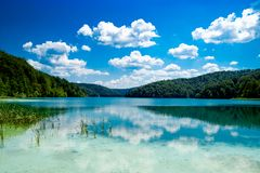 Reflexion in the Plitvice Lakes in Croatia Stock Photo
