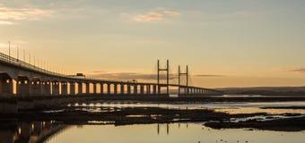 Reflexion Severn Bridge Royaltyfria Bilder