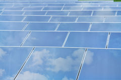 Reflexion of the sky on Solar cells. Closeup reflexion of the sky on Solar cells Royalty Free Stock Photography