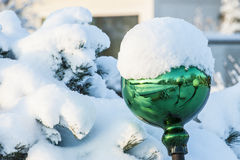 Reflexion on a snow covered ball Stock Photo
