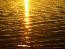Lake Baikal on summer. Reflexion of the sun at sunrise. Reflexion of the sun at gold sunrise on the waves of the cleanest Lake in the world - Baikal, Buryatia royalty free stock images