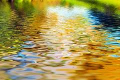 Reflexion von Bäumen in den Trinkwasserwellen Stockfotos