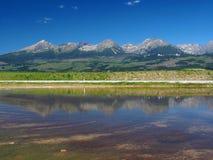 Reflexion von hohem Tatras im See stockfotografie