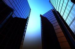 Reflexion von Wolkenkratzern in Windows von Häusern, die der Hintergrund ein 3D ist, übertragen Illustration Stockfotos
