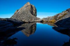 Reflexion on water of St.John peak on Kinabalu National park mountain,Malaysia.  stock image