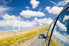 Reflexionen auf grüner Energie Stockfoto