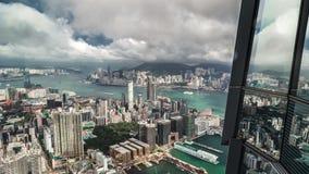 Reflexionen av Hong Kong cityscape 4K TimeLapse - Augusti 2016, Hong Kong stock video