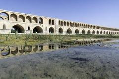 Reflexionen av si-nolla-seh pol i Esfahan, Iran Arkivbild