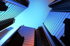 Reflexionen av skyskrapor i Windows av hus som bakgrunden är en 3D, framför illustrationen Royaltyfri Bild