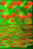 Reflexionen av vallmo blommar i vatten Arkivbild