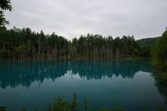 Reflexionen im klaren blauen Wasser von Shirogane-Blau stauen Lizenzfreie Stockfotos