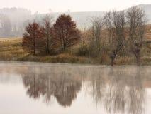 Reflexionen von Bäumen und von Ackerland im Herbst im die Drachenberge-Gebirgszug bei Underberg in Südafrika Stockfotos