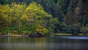 Reflexionen von Herbstbäumen im Loch Chon Lizenzfreies Stockfoto