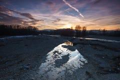 Reflexioner av en solnedgång Arkivbilder