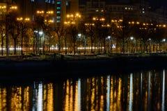 Reflexioner av träd och offentliga lampor över den Dambovita floden Hori Arkivfoton