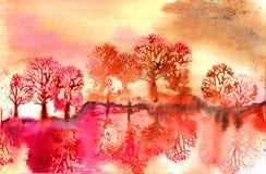 Reflexioner för landskapträdvatten Arkivfoton