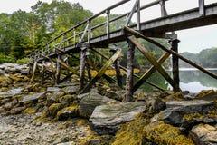 Reflexioner på en kust- liten vik från under en spång royaltyfri fotografi
