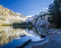 Reflexioner på Fern Lake, nära juni sjön, Kalifornien royaltyfria bilder