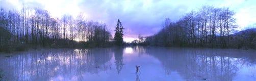 Reflexiones de caudales de una crecida - panorama en azul Fotos de archivo