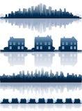 Reflexiones de los paisajes urbanos ilustración del vector