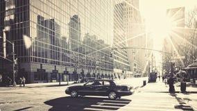 Reflexiones de Manhattan de la forma de vida de la ciudad de la mañana Fotos de archivo