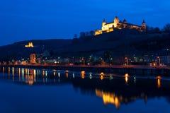 Reflexiones de Marienberg de la fortaleza en Wurzburg, Alemania Imagen de archivo