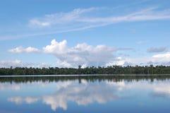 Reflexiones del lago Quistococha, Iquitos, Perú Foto de archivo