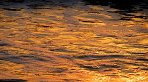 Reflexiones del oro en el agua y la espuma Fotografía de archivo