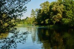 Reflexiones del verano en el río Imagen de archivo libre de regalías