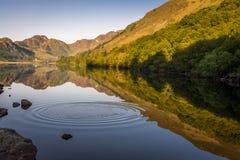 Reflexiones en Llyn Crafnant con las ondulaciones Fotos de archivo