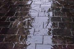 Reflexiones en un pavimento mojado en Madrid Fotografía de archivo libre de regalías