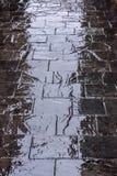 Reflexiones en un pavimento mojado en Madrid Imagen de archivo