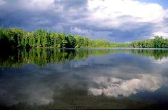 Reflexiones y madera del lago imagen de archivo